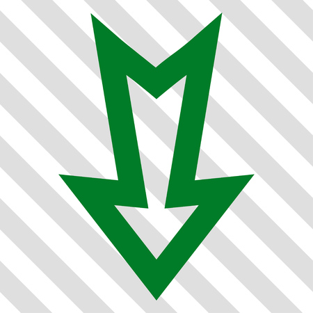 failing: Arrow Down vector icon. Image style is a flat green iconic symbol on a hatched diagonal transparent background.