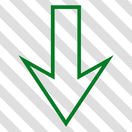 green arrow: Arrow Down vector icon. Image style is a flat green iconic symbol on a hatched diagonal transparent background.