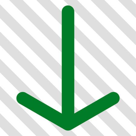failing: Arrow Down vector icon. Image style is a flat green icon symbol on a hatched diagonal transparent background. Illustration