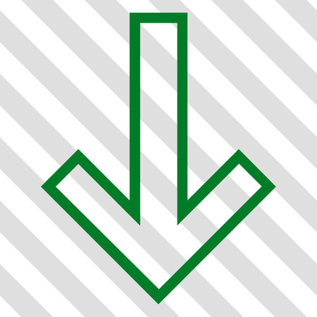 failing: Arrow Down vector icon. Image style is a flat green pictogram symbol on a hatched diagonal transparent background.