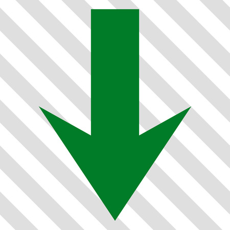 Arrow Down vector icon. Image style is a flat green pictograph symbol on a hatched diagonal transparent background.