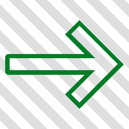 redirect: Arrow Right vector icon. Image style is a flat green pictogram symbol on a hatched diagonal transparent background. Illustration