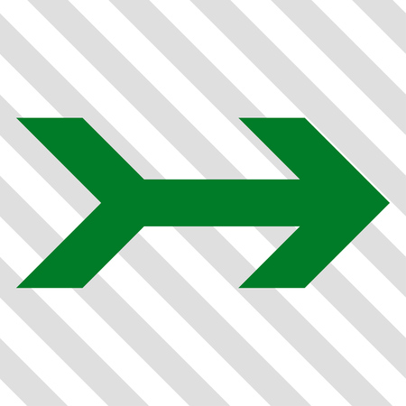 propel: Arrow Right vector icon. Image style is a flat green pictograph symbol on a hatched diagonal transparent background.