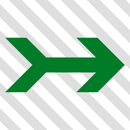 Arrow Right Vektor-Symbol. Bild Stil ist eine flache grüne Piktogramm Symbol auf einem schraffierten diagonal transparenten Hintergrund.