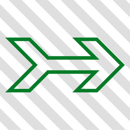 propel: Arrow Right vector icon. Image style is a flat green pictogram symbol on a hatched diagonal transparent background. Illustration
