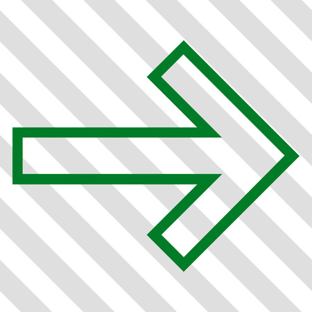 redirect: Arrow Right vector icon. Image style is a flat green icon symbol on a hatched diagonal transparent background. Illustration
