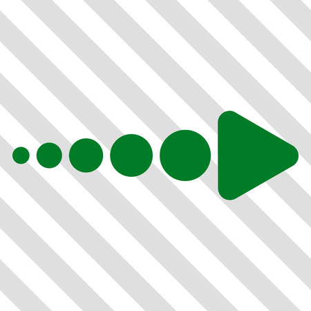 Arrow Right vector icon. Image style is a flat green pictograph symbol on a hatched diagonal transparent background.