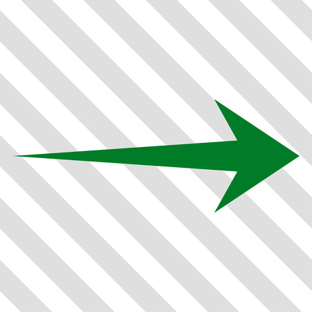 green arrow: Arrow Right vector icon. Image style is a flat green pictograph symbol on a hatched diagonal transparent background.