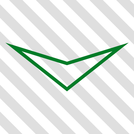 failing: Arrowhead Down vector icon. Image style is a flat green iconic symbol on a hatched diagonal transparent background.