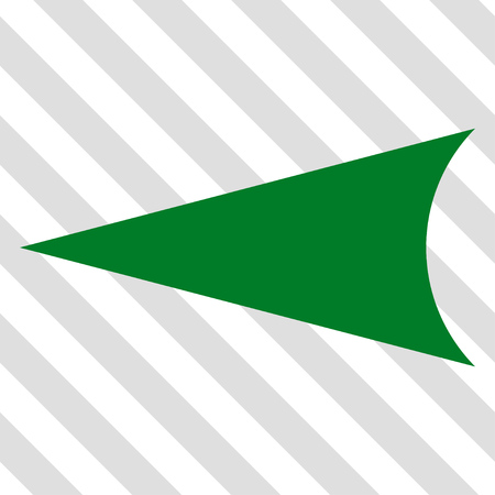arrowhead: Arrowhead Left vector icon. Image style is a flat green iconic symbol on a hatched diagonal transparent background.