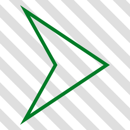 redirect: Arrowhead Right vector icon. Image style is a flat green iconic symbol on a hatched diagonal transparent background.