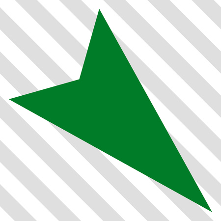 failing: Arrowhead Right-Down vector icon. Image style is a flat green icon symbol on a hatched diagonal transparent background. Illustration