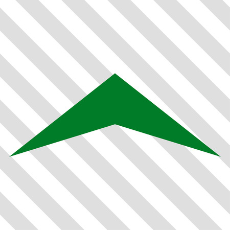 arrowhead: Arrowhead Up vector icon. Image style is a flat green pictograph symbol on a hatched diagonal transparent background.