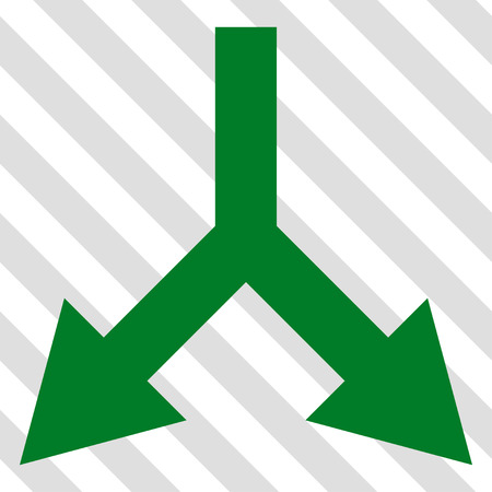 Bifurcation Arrow Down vector icon. Image style is a flat green pictogram symbol on a hatched diagonal transparent background. Illustration