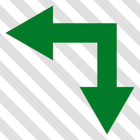 bifurcation: Bifurcation Arrow Left Down vector icon. Image style is a flat green iconic symbol on a hatched diagonal transparent background.