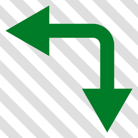 bifurcation: Bifurcation Arrow Left Down vector icon. Image style is a flat green pictograph symbol on a hatched diagonal transparent background.