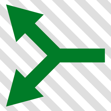 Bifurcation Arrow Left vector icon. Image style is a flat green icon symbol on a hatched diagonal transparent background.