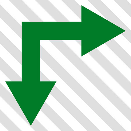 bifurcation: Bifurcation Arrow Right Down vector icon. Image style is a flat green icon symbol on a hatched diagonal transparent background.