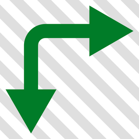 bifurcation: Bifurcation Arrow Right Down vector icon. Image style is a flat green pictograph symbol on a hatched diagonal transparent background. Illustration