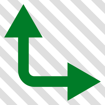 bifurcation: Bifurcation Arrow Right Up vector icon. Image style is a flat green pictograph symbol on a hatched diagonal transparent background.