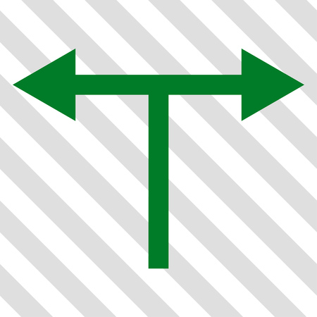 bifurcation: Bifurcation Arrows Left Right vector icon. Image style is a flat green pictogram symbol on a hatched diagonal transparent background.