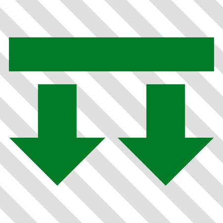 failing: Bring Down vector icon. Image style is a flat green pictogram symbol on a hatched diagonal transparent background.