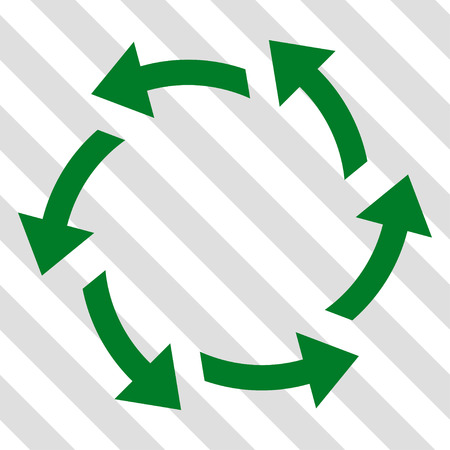 Centrifugal Arrows vector icon. Image style is a flat green pictogram symbol on a hatched diagonal transparent background.