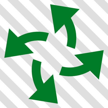 outward: Centrifugal Arrows vector icon. Image style is a flat green pictogram symbol on a hatched diagonal transparent background.