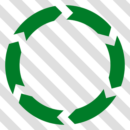 revolve: Circulation vector icon. Image style is a flat green pictogram symbol on a hatched diagonal transparent background.