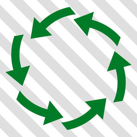 circling: Circulation vector icon. Image style is a flat green pictogram symbol on a hatched diagonal transparent background.