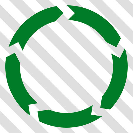 Circulation vector icon. Image style is a flat green iconic symbol on a hatched diagonal transparent background.