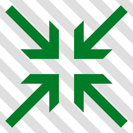 collide: Collide Arrows vector icon. Image style is a flat green iconic symbol on a hatched diagonal transparent background.