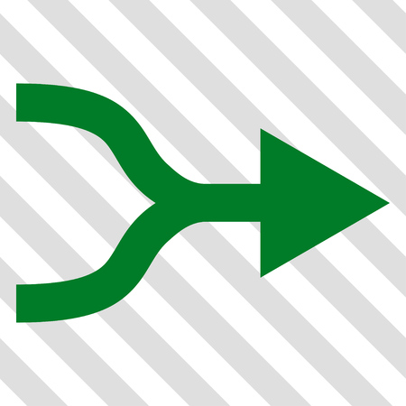 unite: Combine Arrow Right vector icon. Image style is a flat green pictogram symbol on a hatched diagonal transparent background.