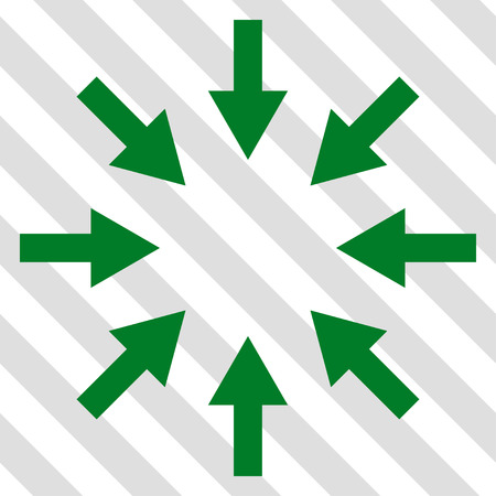 clash: Compact Arrows vector icon. Image style is a flat green icon symbol on a hatched diagonal transparent background.