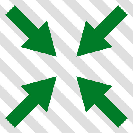 Compress Arrows vector icon. Image style is a flat green pictograph symbol on a hatched diagonal transparent background.
