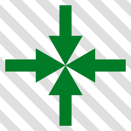 shrink: Compress Arrows vector icon. Image style is a flat green icon symbol on a hatched diagonal transparent background. Illustration