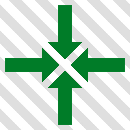 Compress Arrows vector icon. Image style is a flat green iconic symbol on a hatched diagonal transparent background.