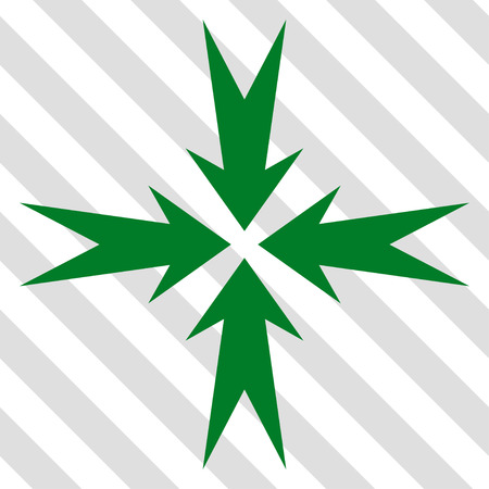 collide: Compression Arrows vector icon. Image style is a flat green pictogram symbol on a hatched diagonal transparent background.