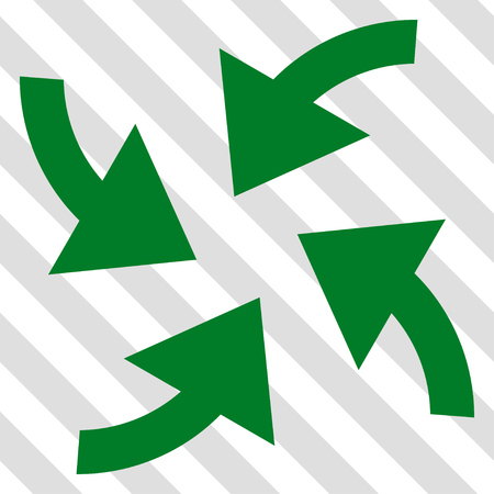 Cyclone Arrows vector icon. Image style is a flat green pictogram symbol on a hatched diagonal transparent background.