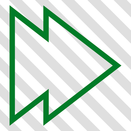 redirect: Direction Right vector icon. Image style is a flat green icon symbol on a hatched diagonal transparent background. Illustration
