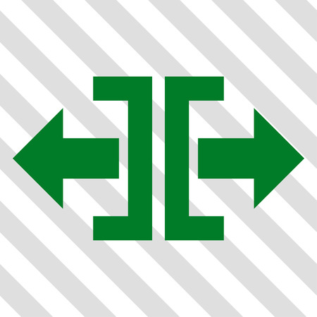 outwards: Divide Horizontal Direction vector icon. Image style is a flat green pictograph symbol on a hatched diagonal transparent background. Illustration