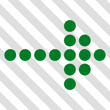 Dotted Arrow Right vector icon. Image style is a flat green icon symbol on a hatched diagonal transparent background. Illustration