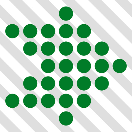 Dotted Arrow Right vector icon. Image style is a flat green iconic symbol on a hatched diagonal transparent background.