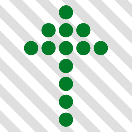 Dotted Arrow Up vector icon. Image style is a flat green iconic symbol on a hatched diagonal transparent background.