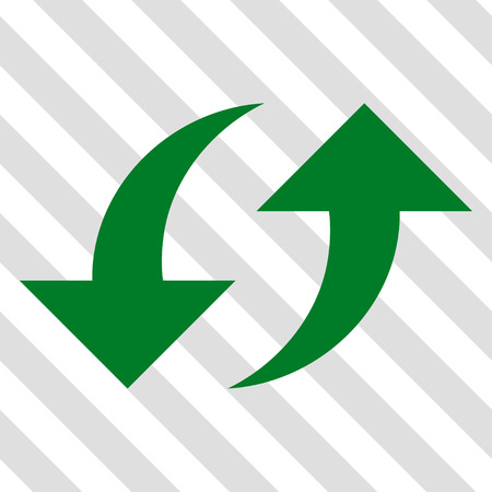revolve: Exchange Arrows vector icon. Image style is a flat green pictograph symbol on a hatched diagonal transparent background.