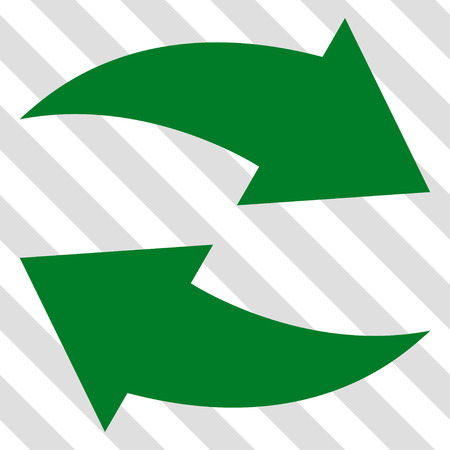 revolve: Exchange Arrows vector icon. Image style is a flat green icon symbol on a hatched diagonal transparent background.
