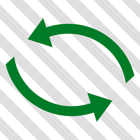 Exchange Arrows vector icon. Image style is a flat green iconic symbol on a hatched diagonal transparent background.