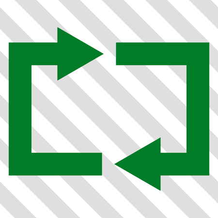 restoring: Exchange Arrows vector icon. Image style is a flat green iconic symbol on a hatched diagonal transparent background.