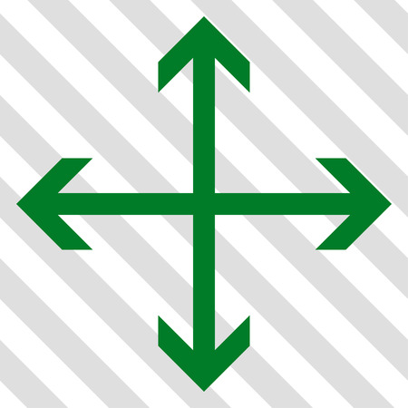 outwards: Expand Arrows vector icon. Image style is a flat green pictogram symbol on a hatched diagonal transparent background. Illustration