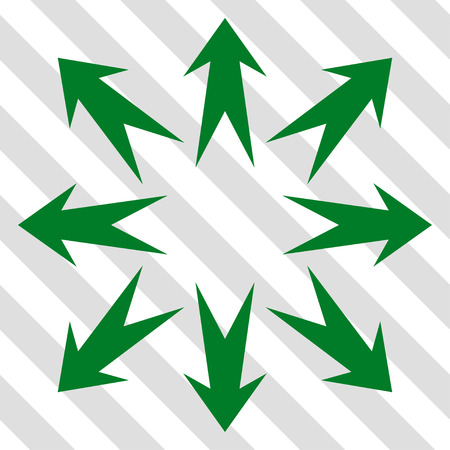 outwards: Expand Arrows vector icon. Image style is a flat green pictograph symbol on a hatched diagonal transparent background.